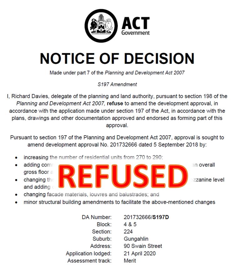 Amended DA for The Establishment Refused